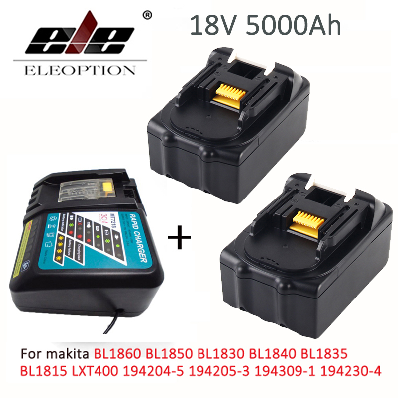 2x with charger For Makita BL1850 18V Battery 5.0ah 5000mAh Rechargeable Li-ion Battery for Makita BL1860 BL1840 BL1830 BL1835 18v 6000mah rechargeable battery built in sony 18650 vtc6 li ion batteries replacement power tool battery for makita bl1860