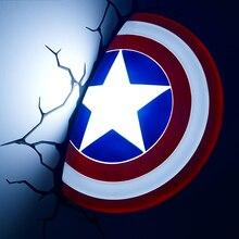 Creative Ironman ספיידרמן קפטן אמריקה 3D קיר מנורת מדהים בייבי חדר קישוט לילה אור Lampada דה פארדה חג המולד מתנה