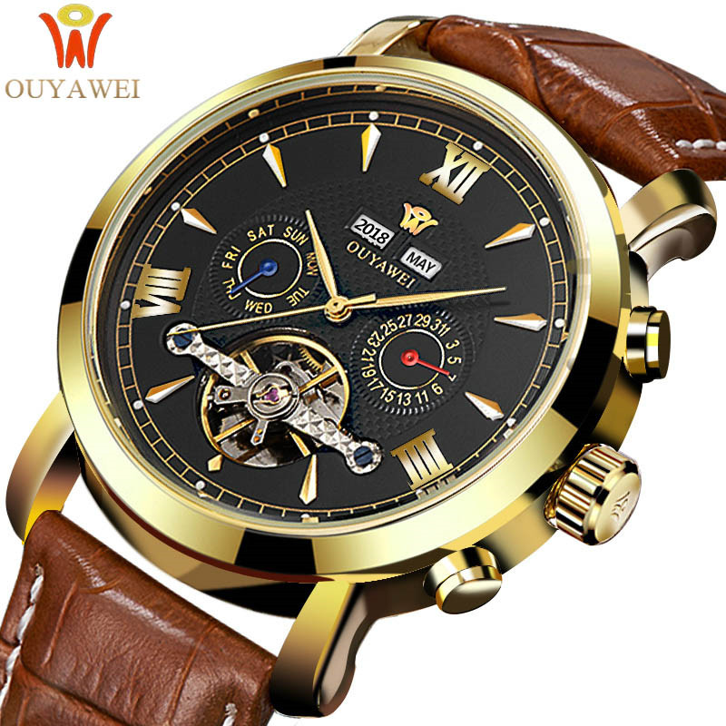 Mechanical Watch Mens Top Brand Luxury Tourbillon Men's Automatic Mechanical Watches Wristwatch Leather watch relogio masculino