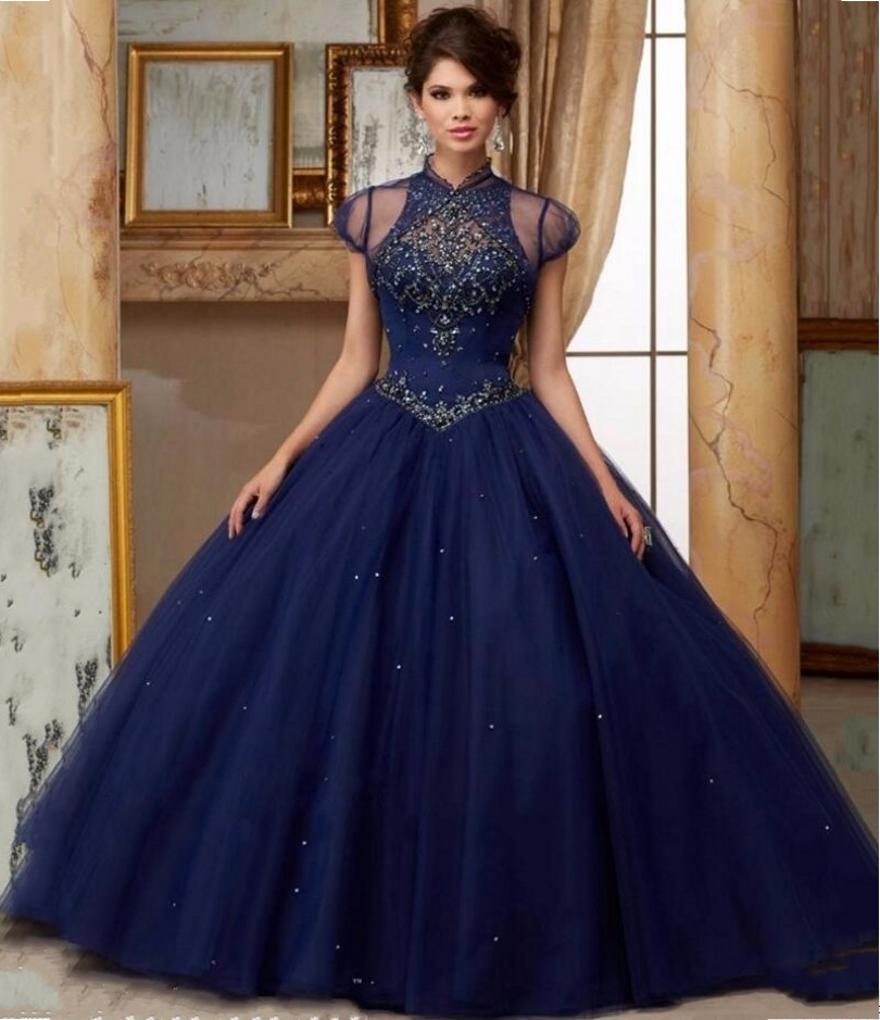Dark blue and silver quinceanera dresses