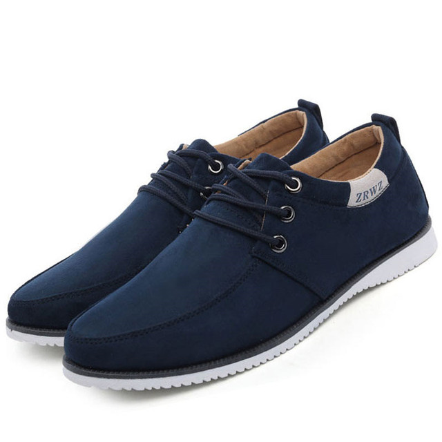d59566d1 Hombre Pisos de Cuero Suave Zapatos Casuales Zapatos de Gamuza Color Sólido  de Los Hombres Low