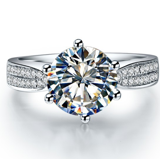 2 Ct Brilliant Round Cut Solid 18k White Gold Simulate Diamond Engagement Ring Best Jewelry Gift