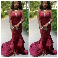Burgundy Sweetheart Slim Mermaid Prom Dresses Tiered Simple African Style 2019 Vestidos De Evening Party Gowns Robe De Soiree