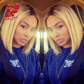 Fashion Ombre Short Bob Hair Wigs Blonde Color Synthetic Lace Front Wig Silky Straight Hair Wig For Black Women