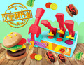 Diy educational toys 3d hamburg maker mould with 8cups colorful clay with accossories set