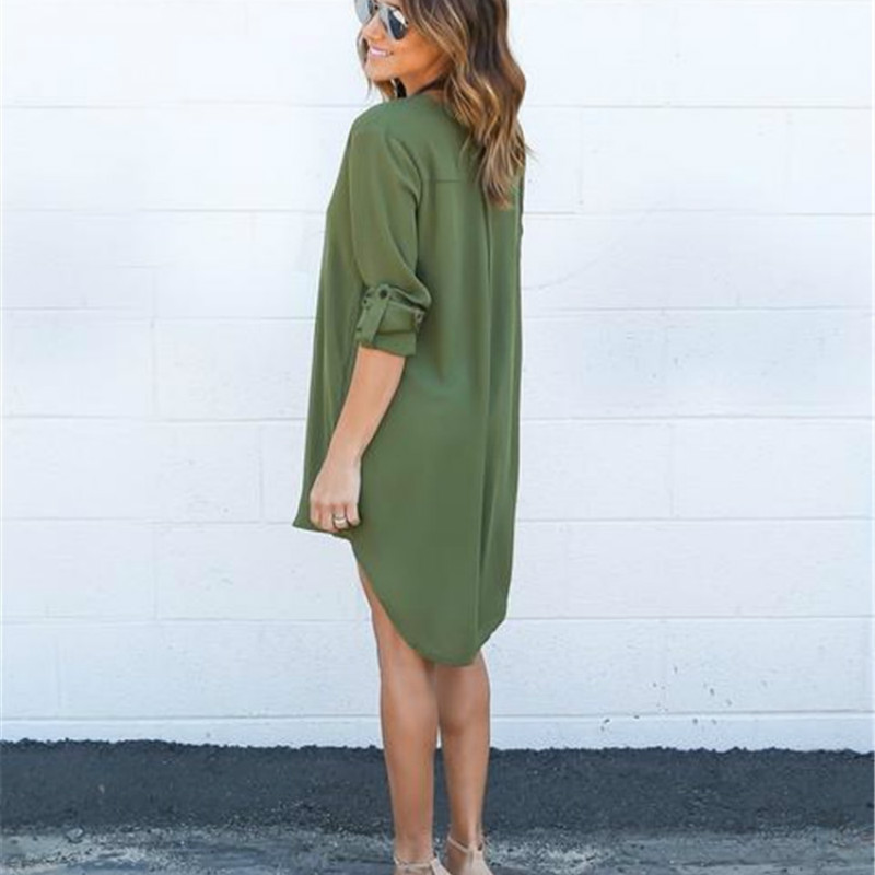 Summer Autumn Women Casual Long Sleeve Chiffon Dresses Ladies Fashion V Neck Loose Short Dress Tops in Blouses amp Shirts from Women 39 s Clothing