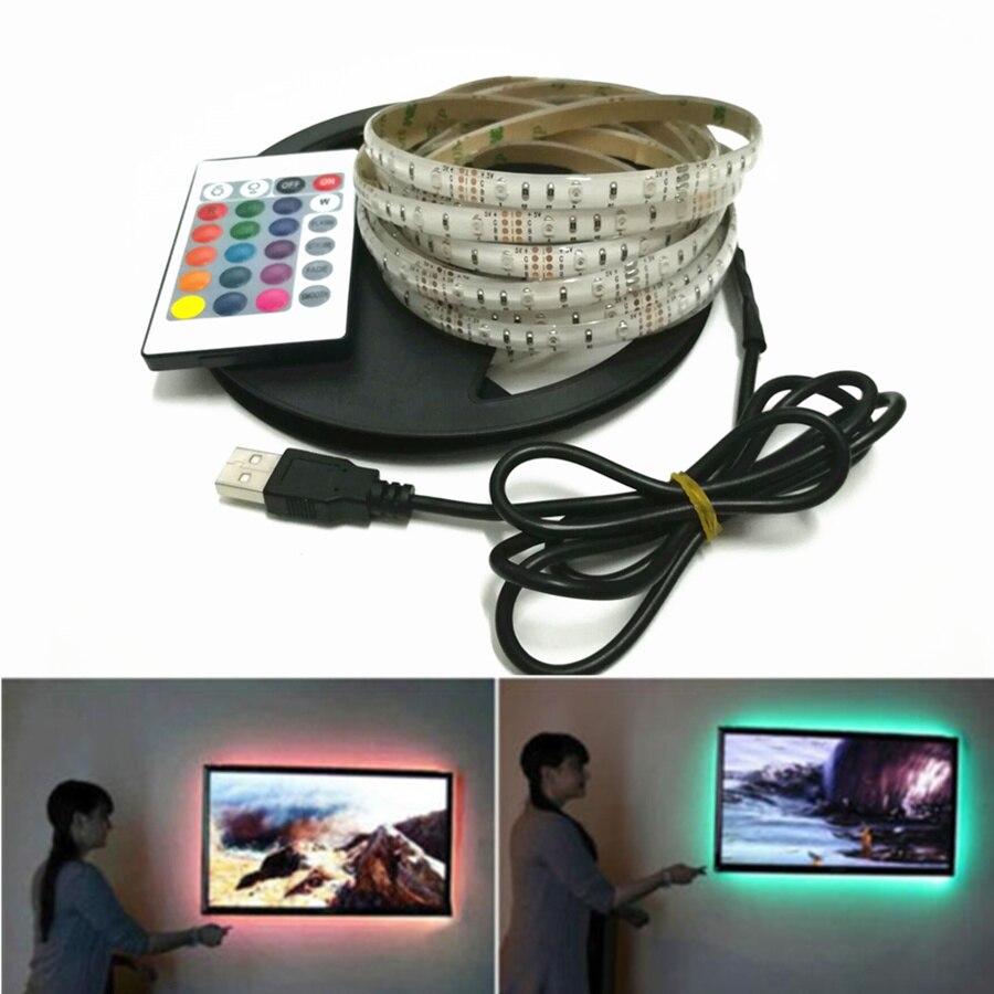 USB Powered DC 5V LED Strip Light 3528 RGB / White/ Warm White Waterproof Tape LED Lamp 1M 2M 3M 4M 5M TV Background Lighting