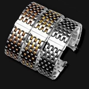 Image 1 - PEIYI качественный ремешок для часов из нержавеющей стали, 20 мм, серебристый и розовое золото, металлический браслет, сменная цепочка для часов tisto T063