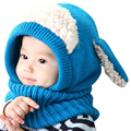 Set sombrero con la bufanda de cuello de perro encantador estilo del invierno del bebé niños de punto cap niños niñas sombrero caliente para niños al aire libre