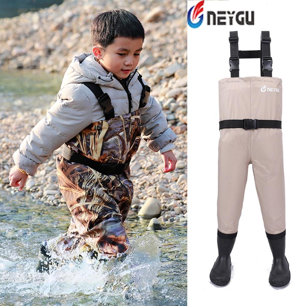 NEYGU kids waterproof windproof wader suit for water sports with Adjustable Shoulder Strap Rubber anti Slip