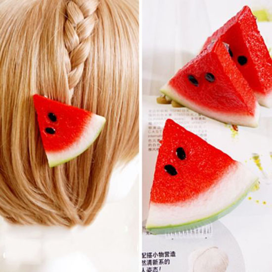 New 1 pic Girls Cute Women Watermelon Fruit Hairpin Kids Hair Ring Clip Elastic Hair Rop ...