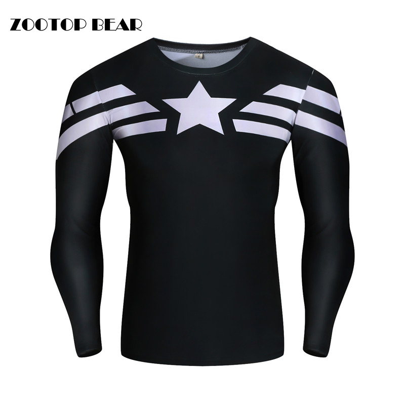 Captain America T shirts Compression Men Tops High Quality Tight Tees Male Superhero 3D Printed Funny Crossfit 2019 ZOOTOP BEAR
