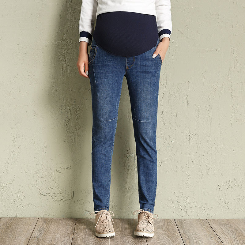 Autumn Winter Maternity Jeans Pants For Pregnancy Women Plus Size L-5XL pregnant women Elastic waist jeans H307 winter velour maternity jeans for pregnant women belly jeans pregnancy elastic waist pencil trousers y880