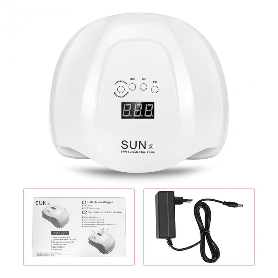 54W Nail Dryer Polish Machine UV Lamp LED Nail Lamp For Gel Nail Polish Art Automatic Hand Sensor Nail Art Tools EU/US Plug