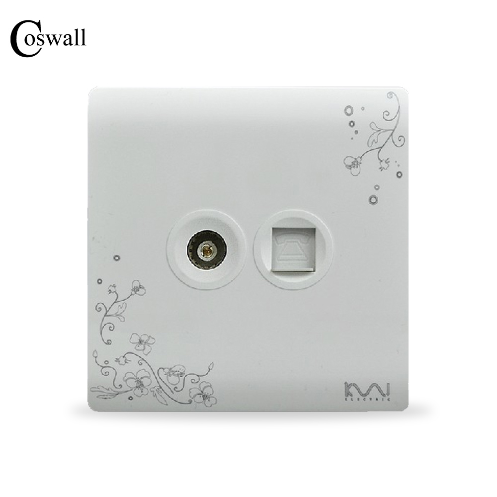 COSWALL Fashion Wall Socket, Ivory White, Brief Art Fashion, Telephone and TV Outlet AC 110~250V