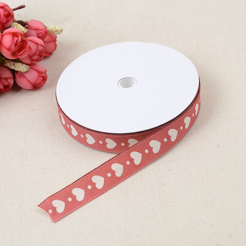 1.5 cm wide Heart Pattern Printed Webbing Ribbon Tape For Clothes Bag Decoration