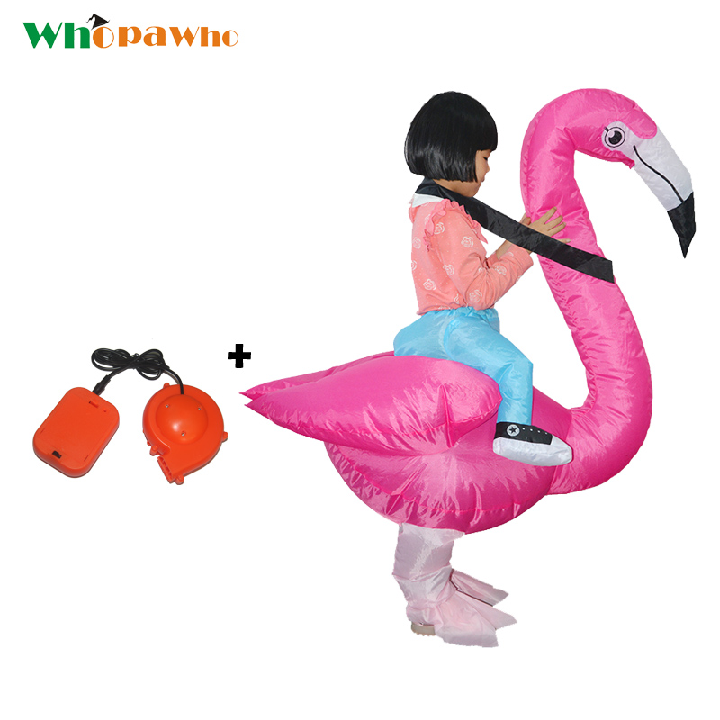 New Gift Inflatable Flamingo Costume Children Party Halloween Costumes Birds Inflatable Mascot Cosplay Clothing for Kids