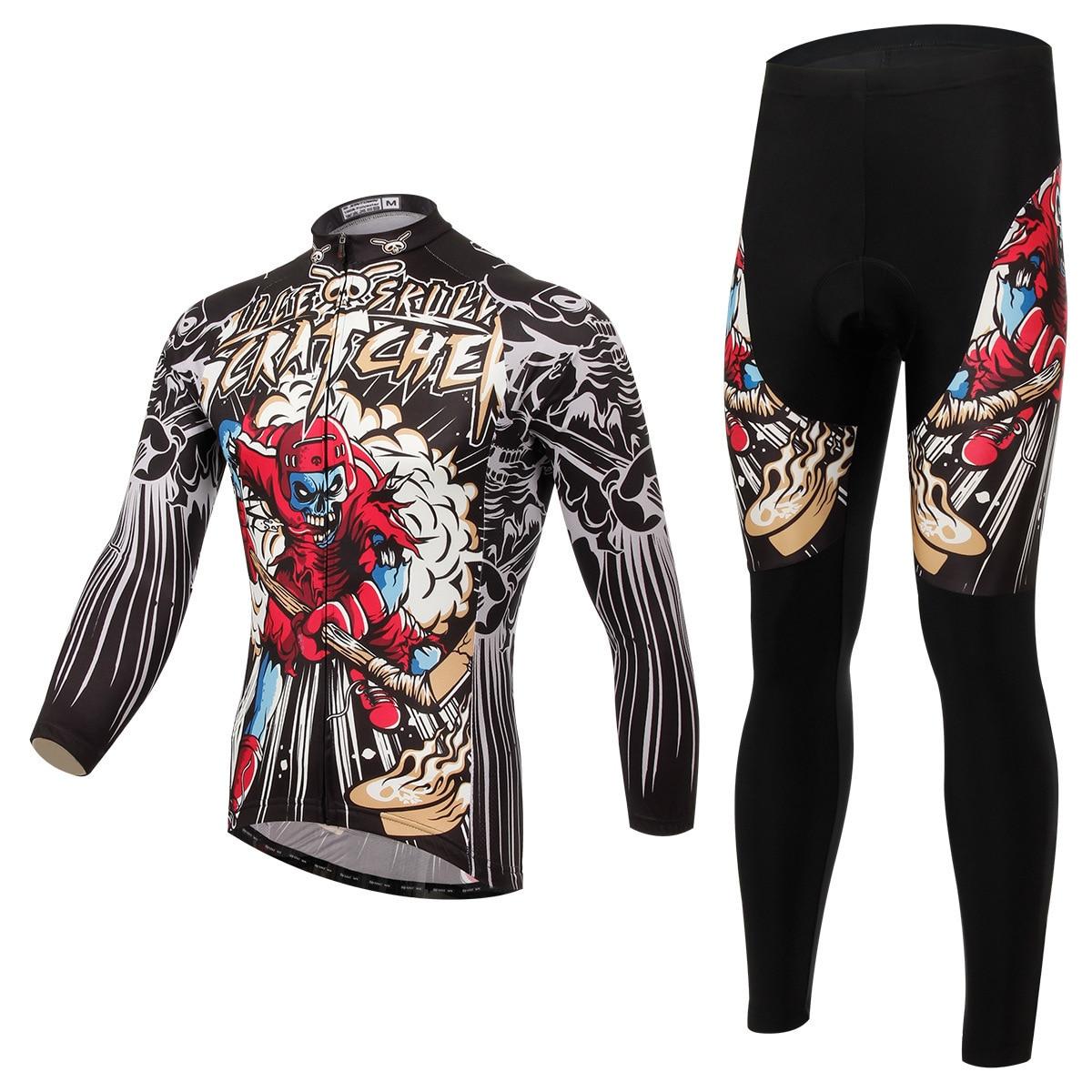 BOODUN Hockey Stick Human Skeleton Cycling Long Sleeve Bicycle Serve Catch Down Windbreak Keep Warm Function Underwear