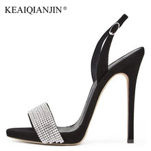 KEAIQIANJIN Woman Crystal Heels Sandals Fashion Sexy Red Wedding Shoes Black  Ultra High Heels Black Apricot Crystal Sandals 2018 3135b92f9001