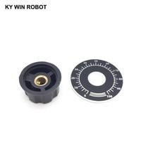 potentiometer knob 1 set MF-A03 Potentiometer Knob Cap 6mm copper core with 0-100 WTH118 potentiometer knob scale digital scale (3)