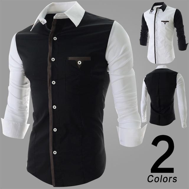 b41338e3ad61 new 2014 Korean fashion shirt men s long-sleeved shirt slim fit tuxedo shirts  cotton dress shirts men blouse freeshipping