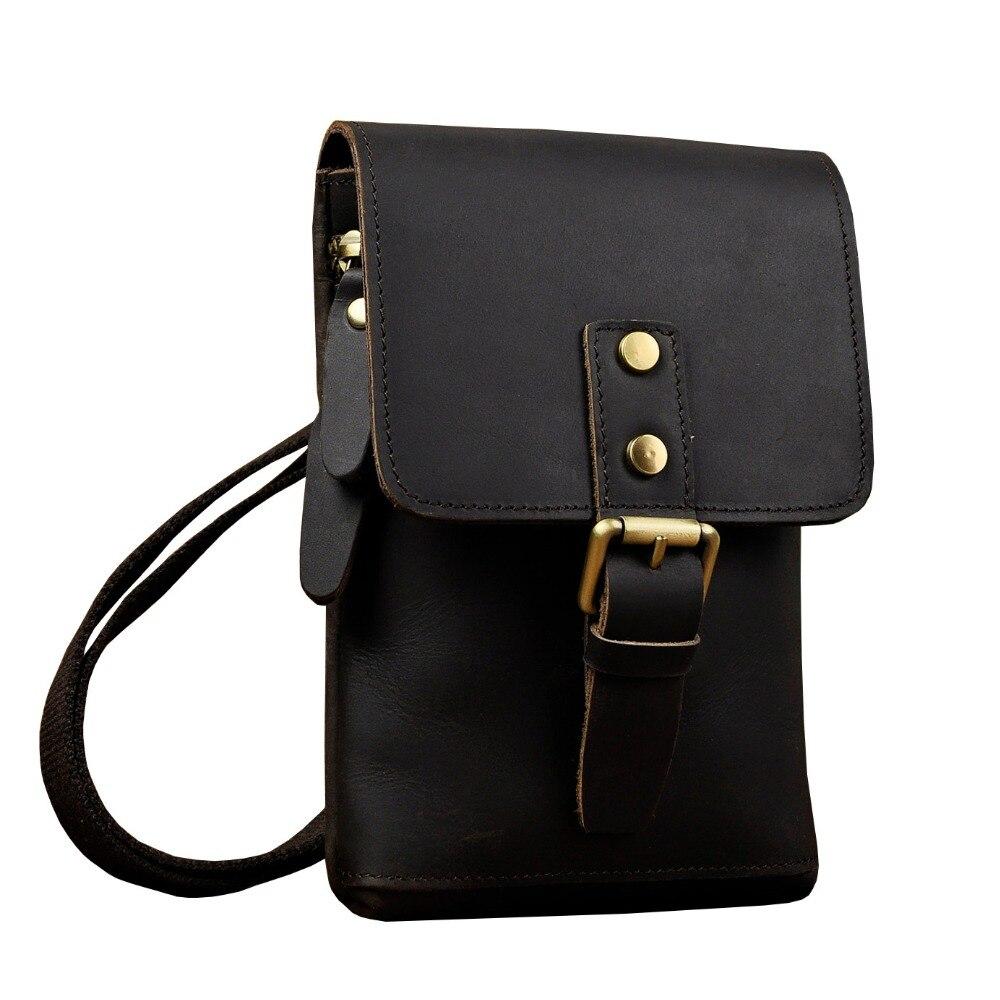 Leather Men Casual Multifunction Fashion Crossbody Messenger Shoulder Bag Designer Waist Belt Pack Cigarette Case Pouch 611-15