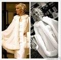 Nova Moda Curto 2016 casaco De Noiva Branco Morno do Inverno Fur Nupcial jaqueta Com Capuz Cape Shawl Enrole Guarnição Da Pele Capas Para Casamento Da Noiva