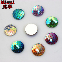 100pcs 12mm AB Color Round Resin Rhinestone Fish Scale Flatback Crystal  Stones Gems For clothing Crafts 301ce09393fb