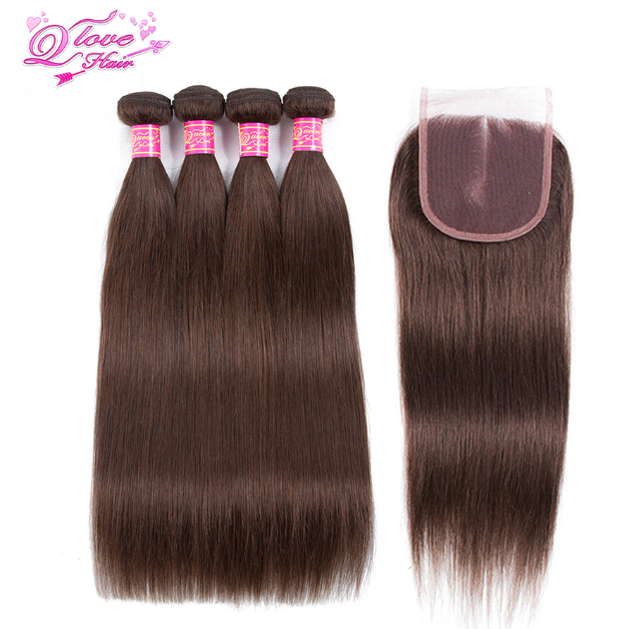 Queen Love Hair Pre-Colored 4 Bundeles With Closure Malaysia Straight Human Hair #4 Color Non Remy Bundles Hair