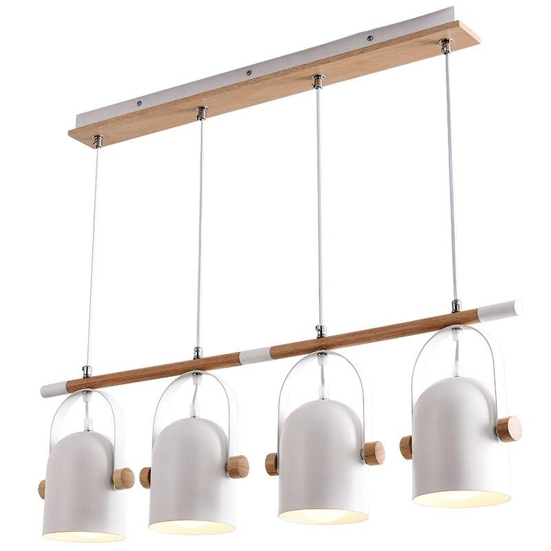 Nordic European 4 Heads Pendant Lights For Dinning Room Restaurant Modern Wooden Pendant Lamp Hanging Lights 110-240V