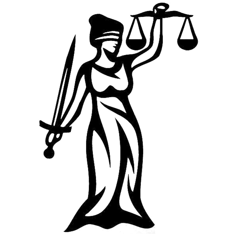10.2cm*14.7cm Law Statue Of Justice Vinyl Car Styling Decals Stickers Black/Silver S3-6470 lethe s law