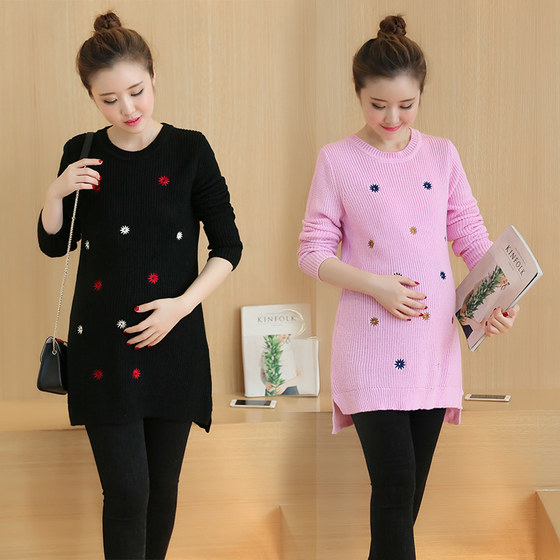 ФОТО Maternity Clothes Spring Autumn Sweaters Pullovers Maternity Sweater for Pregnant Women Embroidered Pregnancy Sweatshirt B259