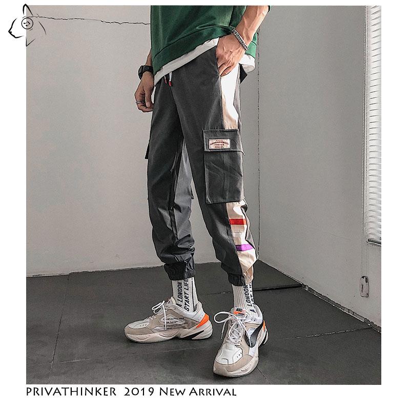 Privathinker Man New Hip Hop 2019 Harajuku Joggers Streetwear Mens Pockets Harem Pants Male Summer Ankle-length Pants Oversize(China)