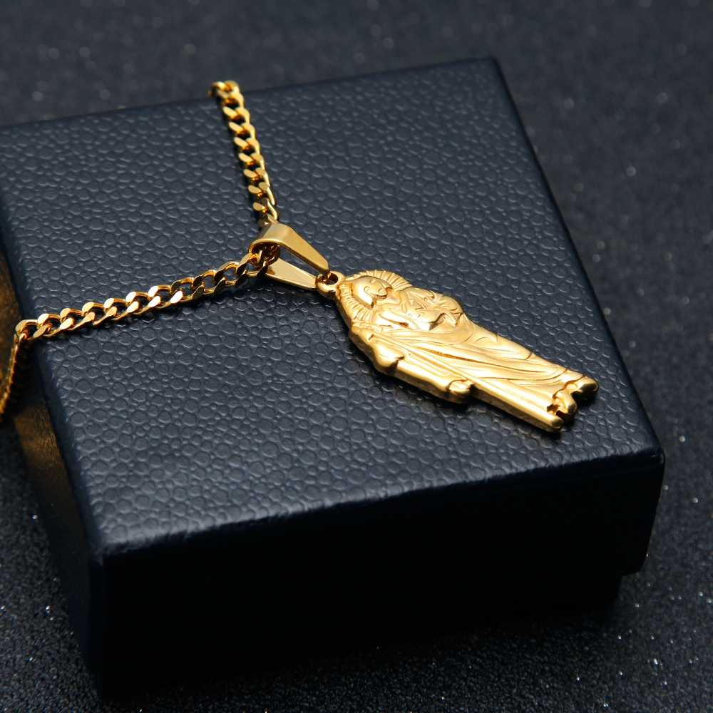 Retro Gold Color Indian Chief Necklace&Pendant Mens Stainless Steel Hiphop Fashion Jewelry Cuban Chain  Drop Shipping