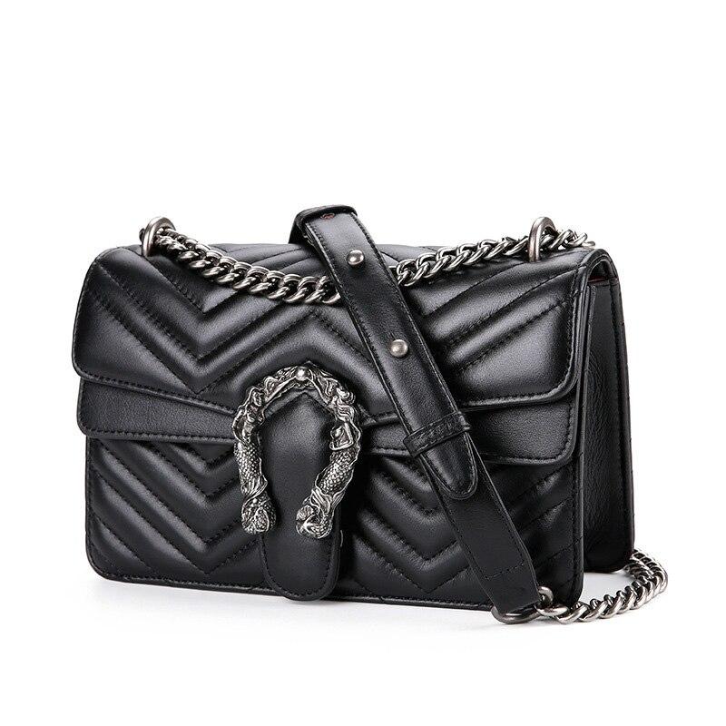 Moda panie luksusowe torba ze skóry naturalnej 2019 podróży Messenger kobiet torebki łańcuchowe projektant znanych marek kobiet torby na ramię w Torby z uchwytem od Bagaże i torby na  Grupa 3