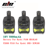 3x High Capacity 18V 5000mAh Li Ion Rechargeable Battery For Ryobi P108 RB18L40 P2000 P310 For