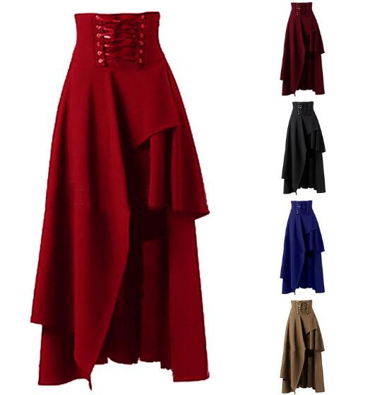Hot Sale Long Skirt Women Fashion Lolita Strap Black Gothic Skirts Female High Waist Irregular Steampunk Party 2XL