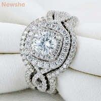 Newshe 3Pcs 925 Sterling Silber Hochzeit Ringe Für Frauen 2.1Ct AAA CZ Engagement Ring Set Klassische Schmuck Größe 5 -12
