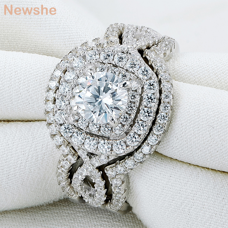 Newshe 3Pcs Solid 925 Sterling Silver Wedding Ring Sets 2.1Ct AAA CZ Engagement Band Gift Jewelry For Women Size 5 6 7 8 9 10 newshe pear shape blue side stones aaa cz solid 925 sterling silver wedding ring set engagement band fashion jewelry for women
