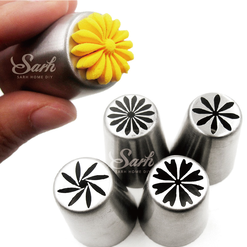 4pcs Lot Metal Stainless Steel Cutters Professional Cake Decorators Russian Pastry Nozzles Piping Tips For