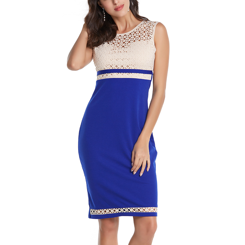 Women Midi Work Dress Summer Offical Off shoulder Hollow Out Party Dresses Sexy Bodycon Vintage Ladies Vestidos Sleeveless