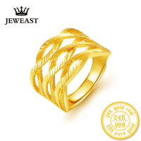 24K Gold Rings Real Solid Good Fine Au999 Exaggerated Three Twist Female Ring Hot Sale 2018
