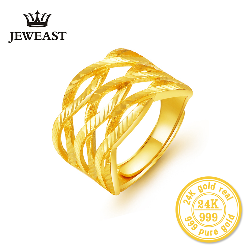 24K Gold rings real solid good fine au999 exaggerated three twist female ring hot sale 2018 new trendy party fine jewelry nice 24k gold ring flower female women mother wife lady girl 2017new hot sale fine jewelry trendy good nice top upscale real pure 999
