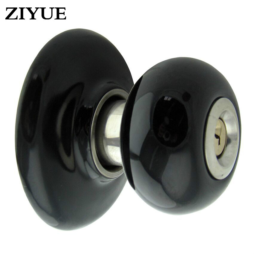 цена Free Shipping Black Ceramic Mechanical Bathroom IndoorWood Door Spherical Lock with Key