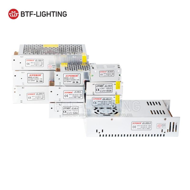 5 V 2A/3A/4A/5A/8A/10A/12A/20A/30A/40A/60A Interruptor LED Power Supply Transformadores SK6812 SK9822 APA102 WS2812B WS2801 Tira CONDUZIDA