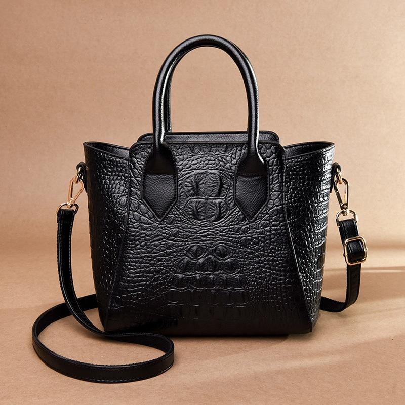 2019 New Crocodile Pattern Women Genuine Leather Handbags Vintage Alligator Crossbody Bags for Women Ladies Shoulder Tote Bags in Shoulder Bags from Luggage Bags