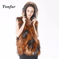 Hooded Real Fox Fur Vest With Hood Fashion Factory Export Nature Fox Fur Gilet Women Fox Fur Waistcoat Hoody TBNT399