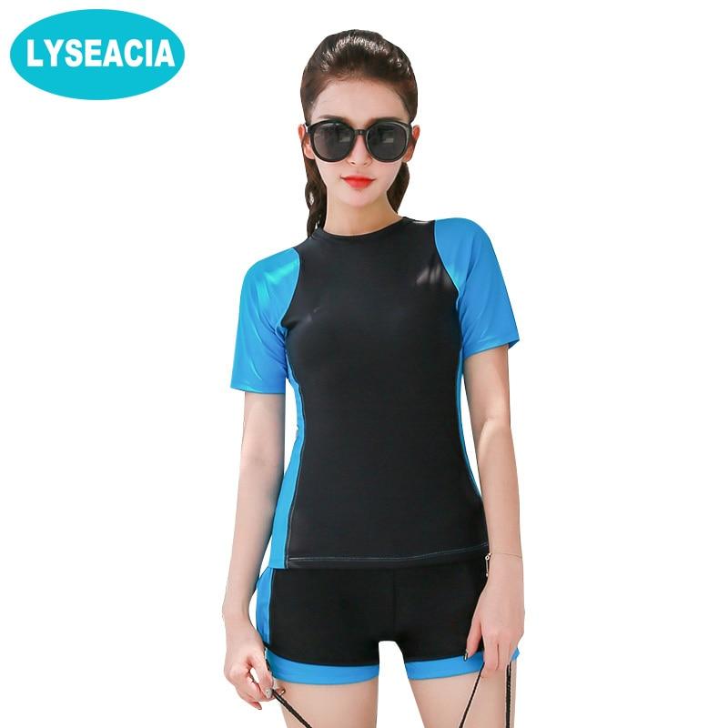 LYSEACIA Short Sleeve Beachwear Women's Swimsuit of Large Size Tankini Swimwear Vintage Women Boxer Shorts Swimming Suit L-5XL
