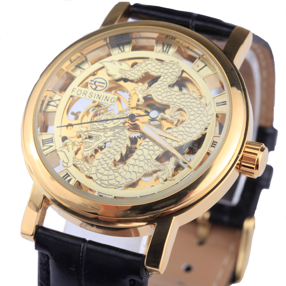 Forsining Dragon Men s Mechanical Watch Black Gold Case Leather band Hollow watches Skeleton top brand