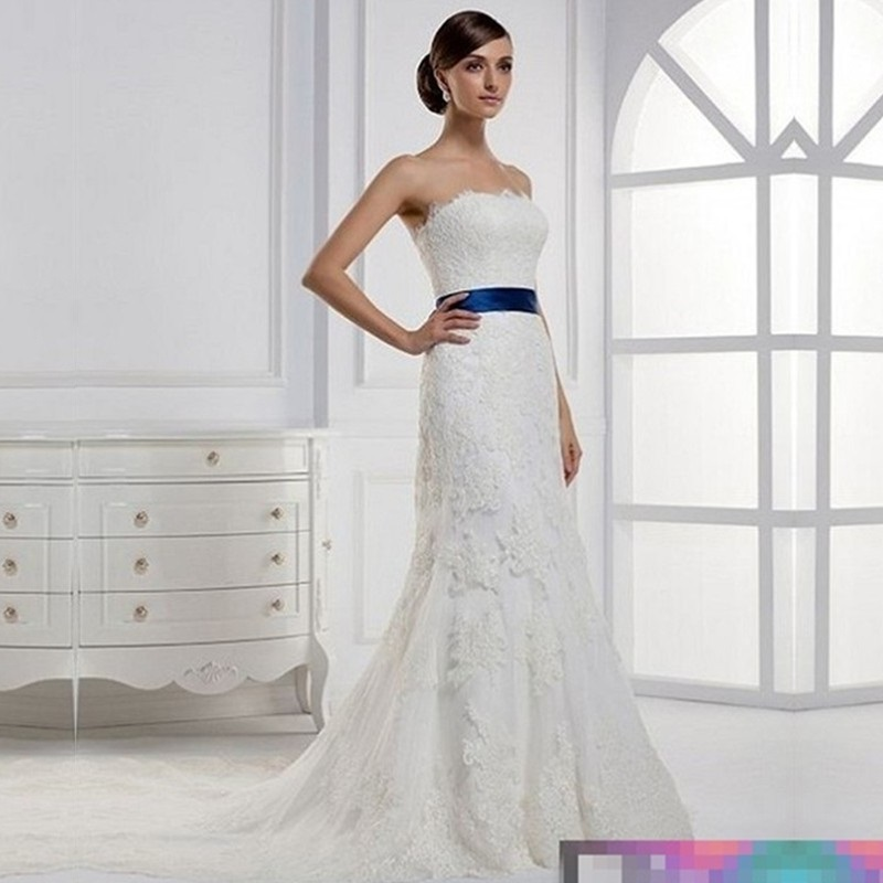 2015 Designer Wedding Gowns: 2015 New Design Lace Wedding Dresses With Royal Blue Sash